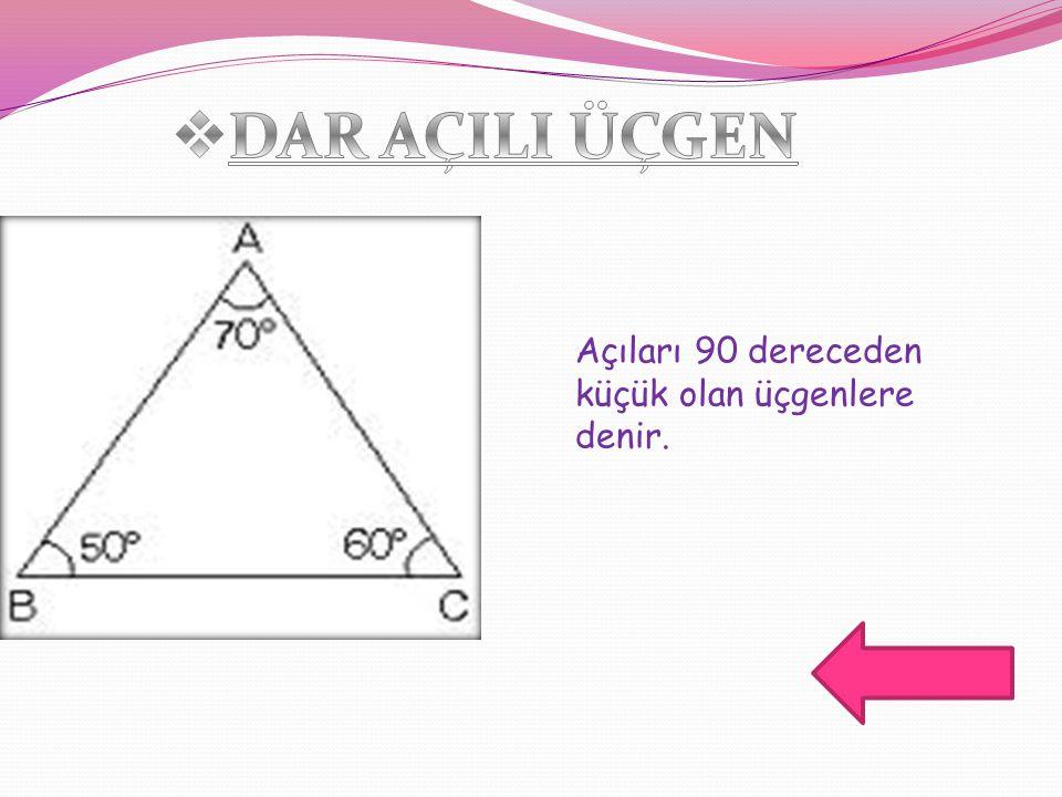 DAR AÇILI ÜÇGEN Açıları 90 dereceden küçük olan üçgenlere denir.