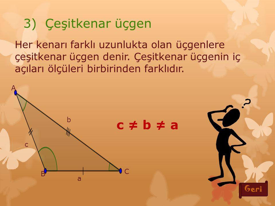 3) Çeşitkenar üçgen c ≠ b ≠ a
