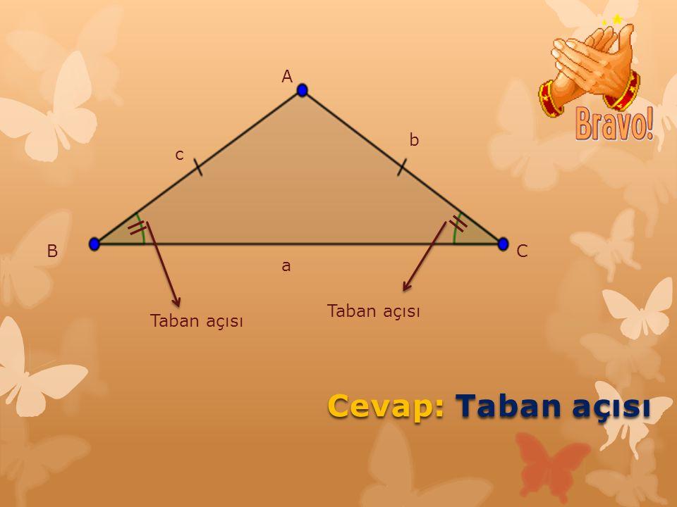 A b c = = B C a Taban açısı Taban açısı Cevap: Taban açısı