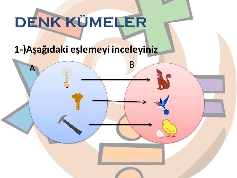 DENK KÜMELER 1-)Aşağıdaki eşlemeyi inceleyiniz B A