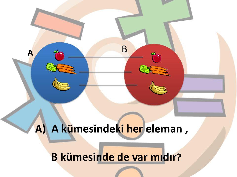 A) A kümesindeki her eleman , B kümesinde de var mıdır
