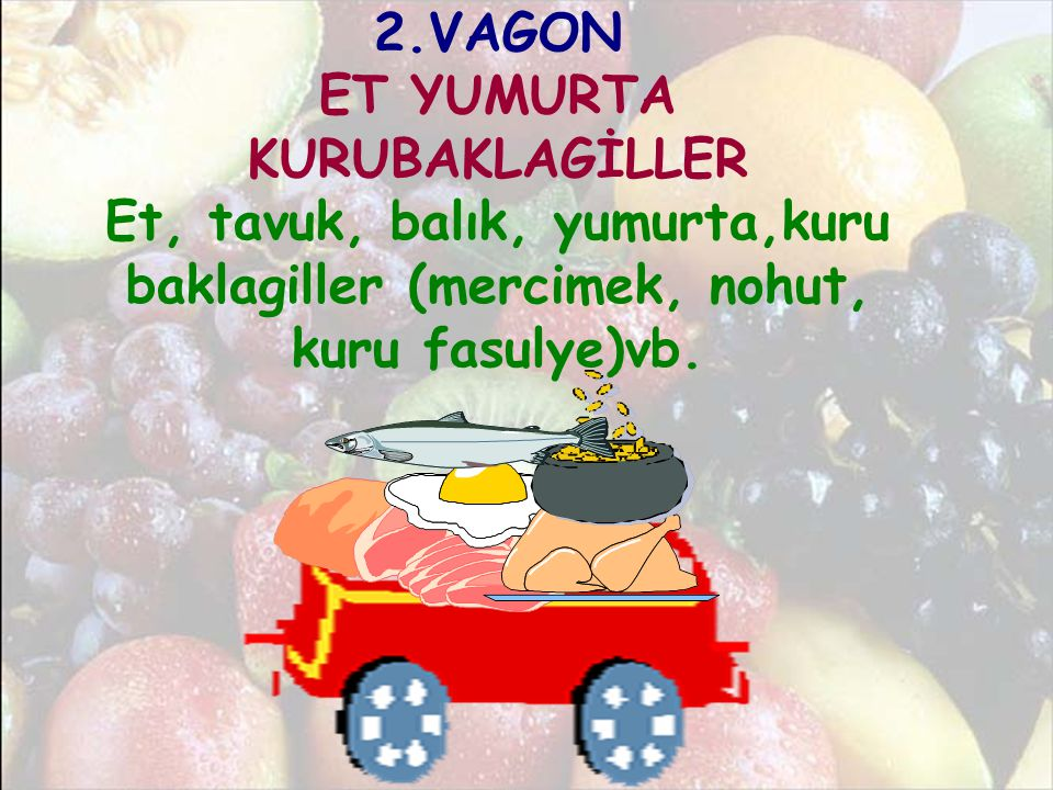 2.VAGON ET YUMURTA KURUBAKLAGİLLER Et, tavuk, balık, yumurta,kuru baklagiller (mercimek, nohut, kuru fasulye)vb.