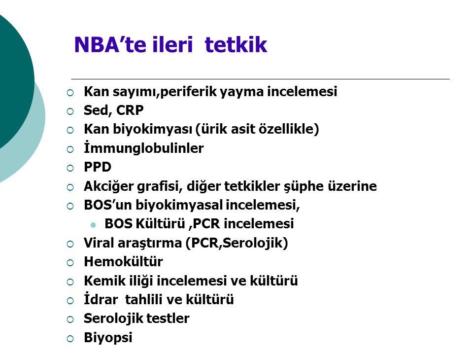 NBA'te ileri tetkik Kan sayımı,periferik yayma incelemesi Sed, CRP
