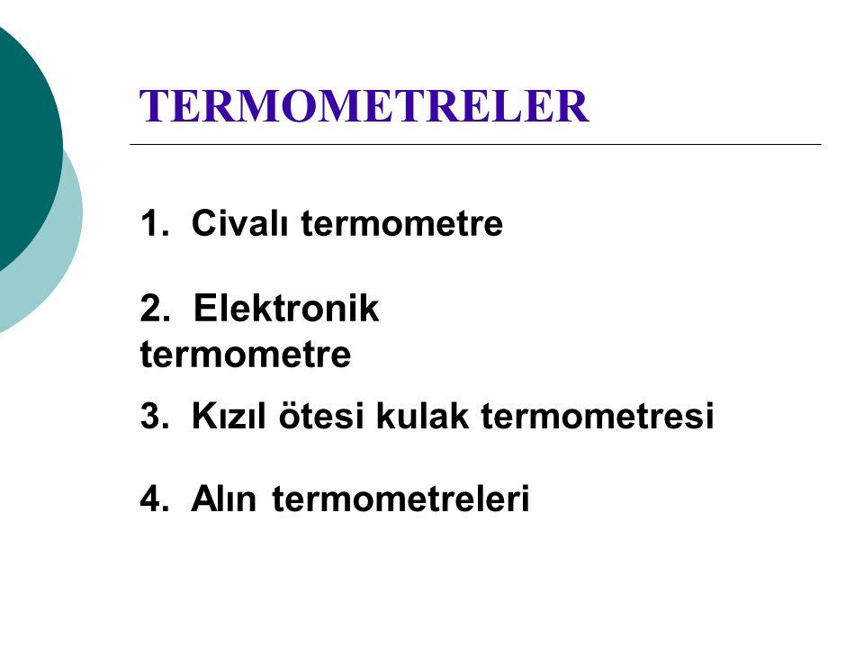 TERMOMETRELER 1. Civalı termometre 2. Elektronik termometre