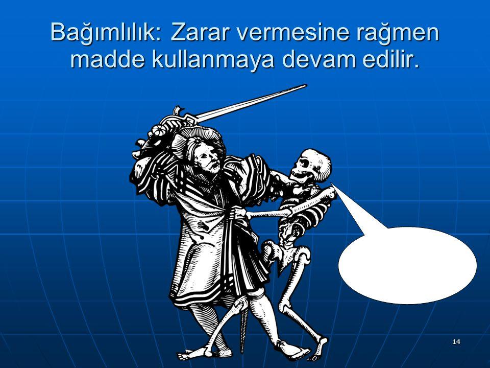 Bağımlılık: Zarar vermesine rağmen madde kullanmaya devam edilir.