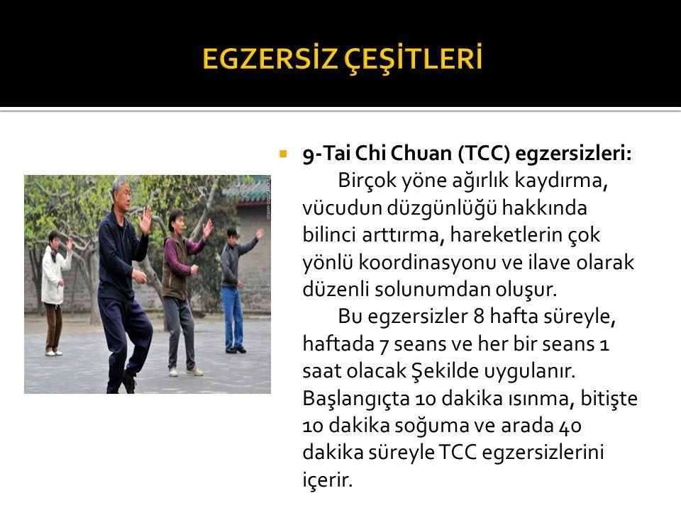 EGZERSİZ ÇEŞİTLERİ 9-Tai Chi Chuan (TCC) egzersizleri: