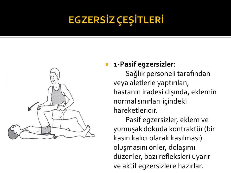 EGZERSİZ ÇEŞİTLERİ 1-Pasif egzersizler: