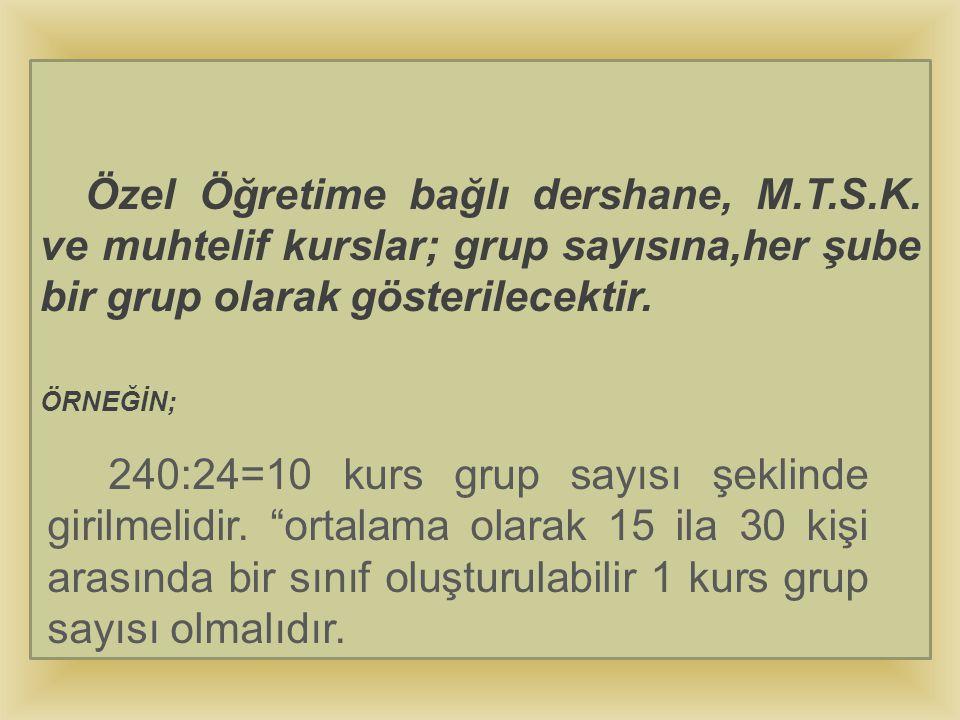 Özel Öğretime bağlı dershane, M. T. S. K
