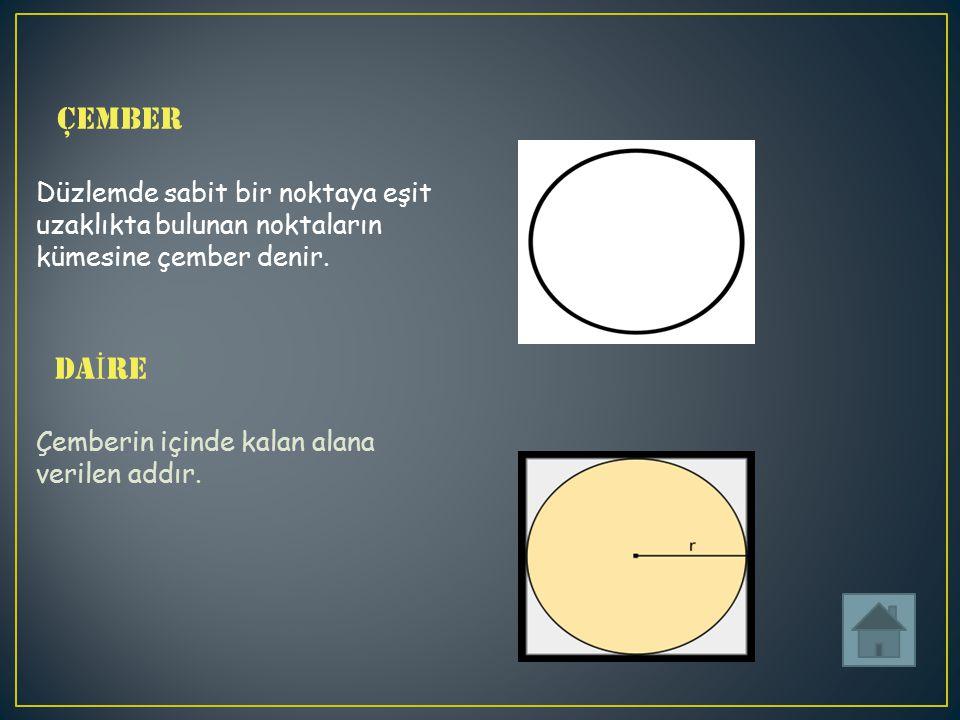 Çember Düzlemde sabit bir noktaya eşit uzaklıkta bulunan noktaların kümesine çember denir.