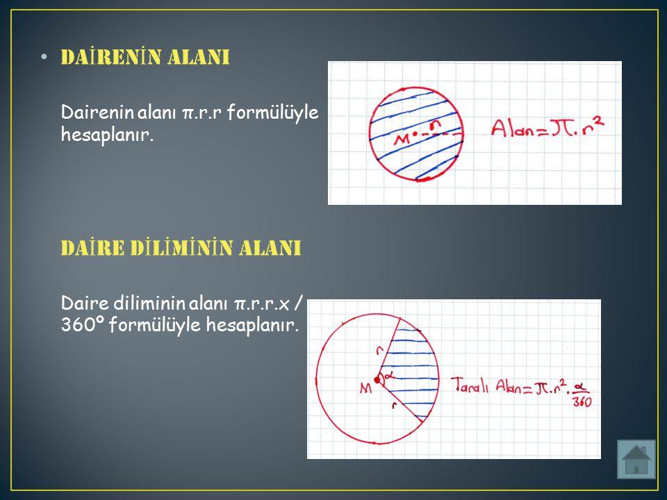 DAİRENİN ALANI Dairenin alanı π. r. r formülüyle hesaplanır