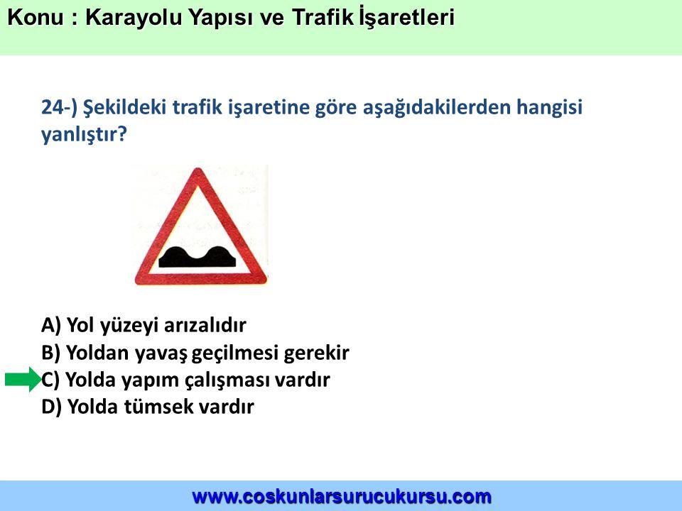 Konu : Karayolu Yapısı ve Trafik İşaretleri