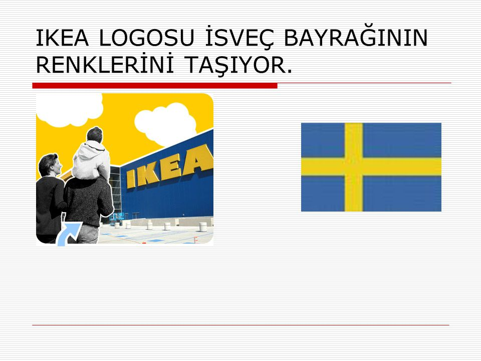 IKEA LOGOSU İSVEÇ BAYRAĞININ RENKLERİNİ TAŞIYOR.