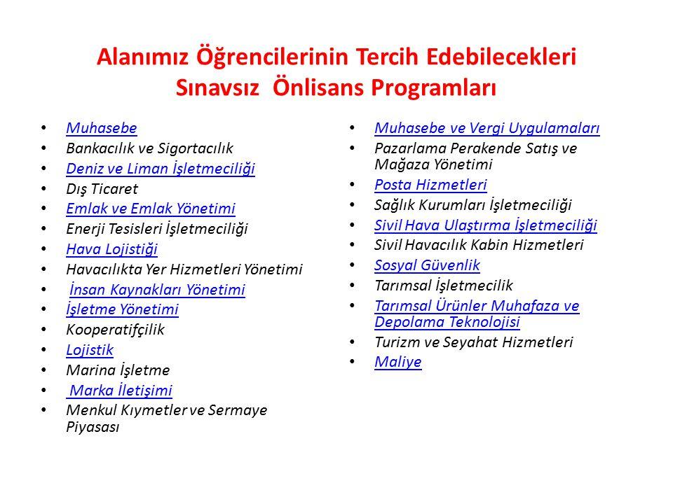 Alanımız Öğrencilerinin Tercih Edebilecekleri Sınavsız Önlisans Programları