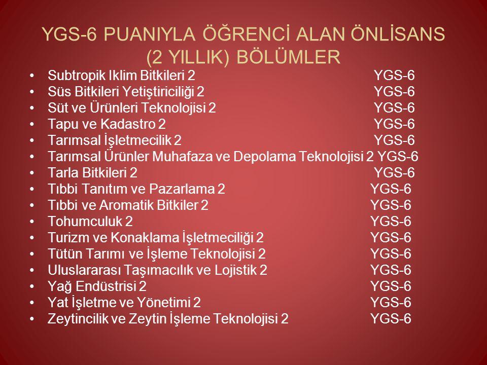 YGS-6 PUANIYLA ÖĞRENCİ ALAN ÖNLİSANS (2 YILLIK) BÖLÜMLER