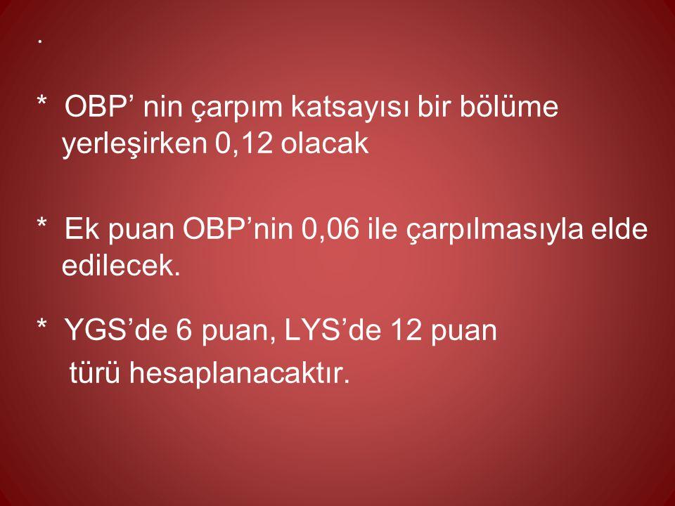 * OBP' nin çarpım katsayısı bir bölüme yerleşirken 0,12 olacak