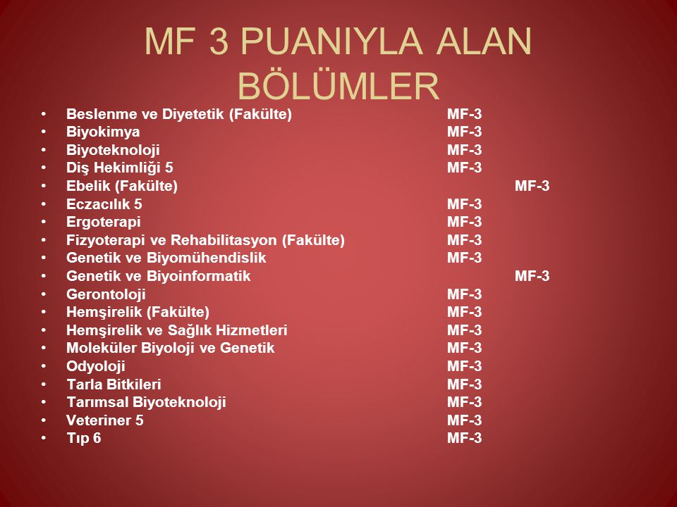 MF 3 PUANIYLA ALAN BÖLÜMLER