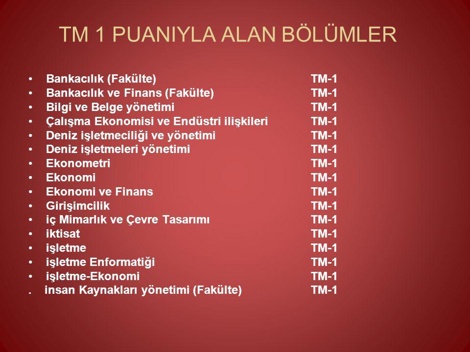 TM 1 PUANIYLA ALAN BÖLÜMLER