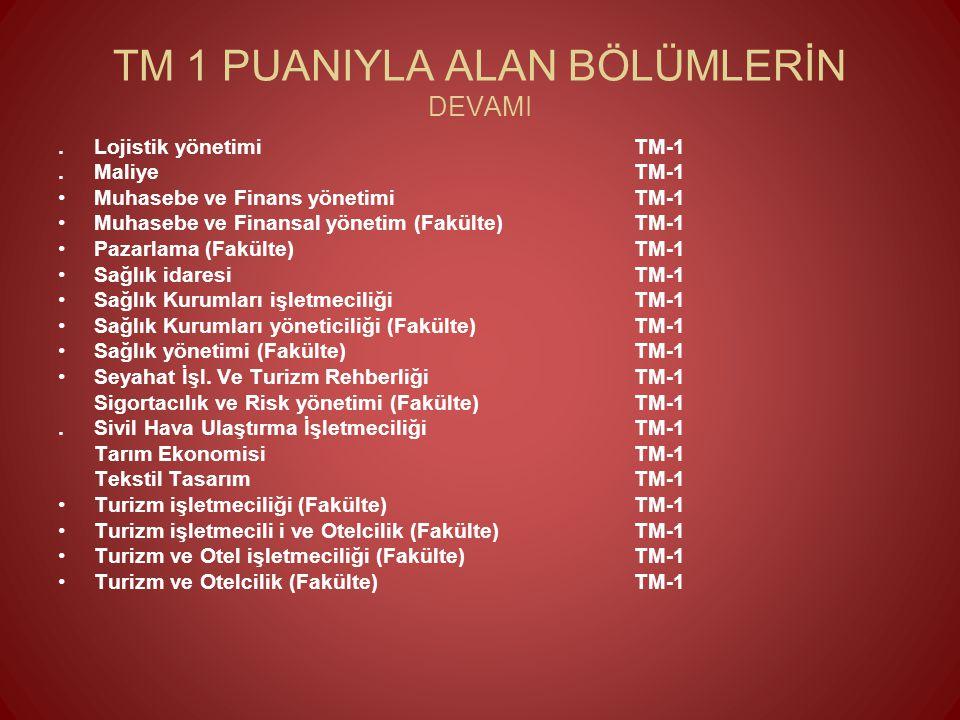 TM 1 PUANIYLA ALAN BÖLÜMLERİN DEVAMI