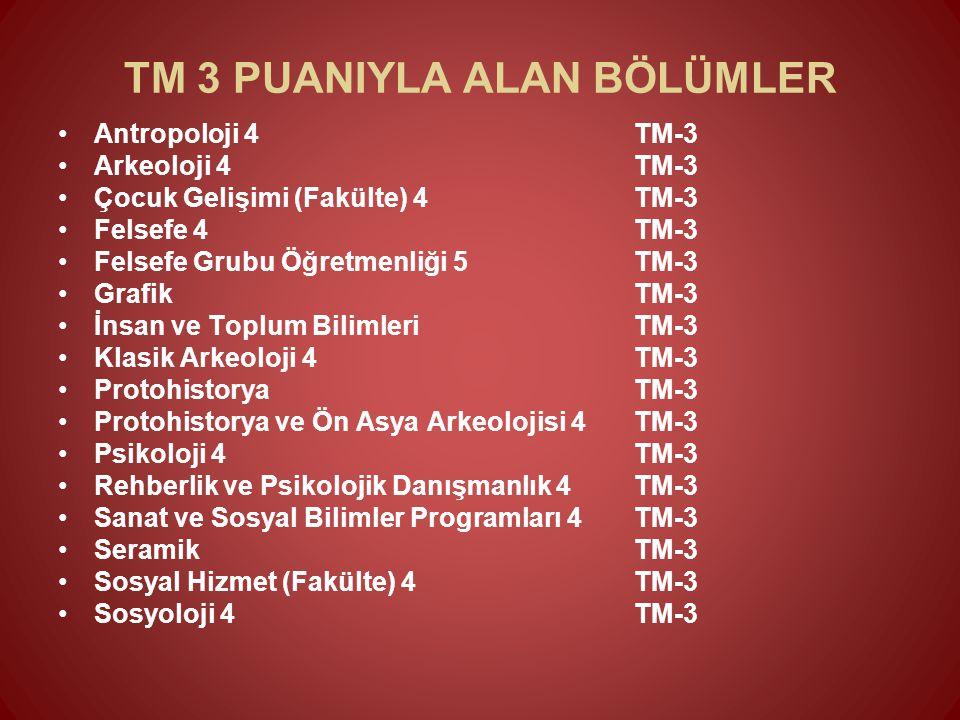 TM 3 PUANIYLA ALAN BÖLÜMLER