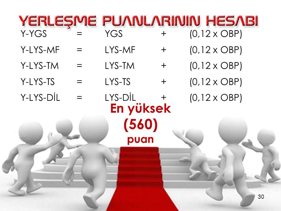 (560) En yüksek puan Y-YGS = YGS + (0,12 x OBP)