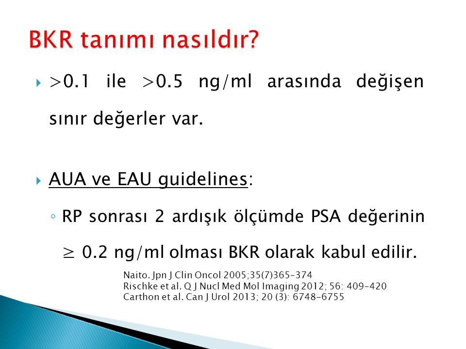BKR tanımı nasıldır >0.1 ile >0.5 ng/ml arasında değişen sınır değerler var. AUA ve EAU guidelines: