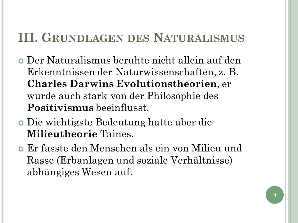 III. Grundlagen des Naturalismus