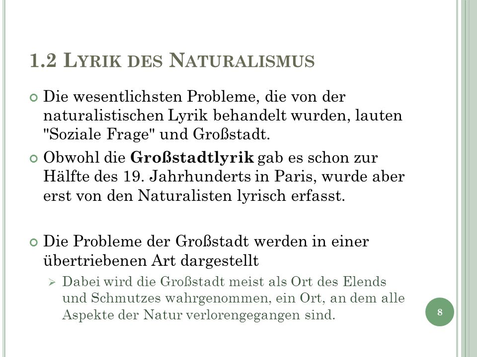 1.2 Lyrik des Naturalismus