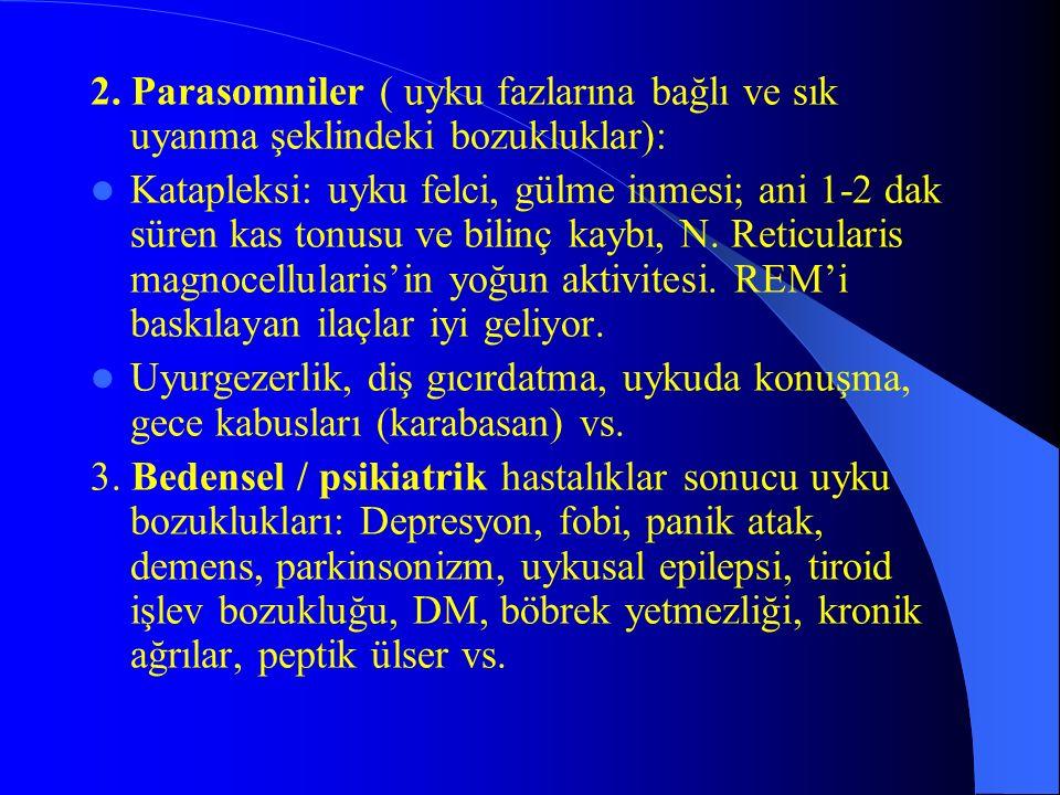 2. Parasomniler ( uyku fazlarına bağlı ve sık uyanma şeklindeki bozukluklar):