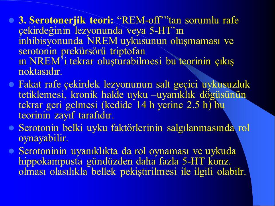 3. Serotonerjik teori: REM-off' tan sorumlu rafe çekirdeğinin lezyonunda veya 5-HT'ın inhibisyonunda NREM uykusunun oluşmaması ve serotonin prekürsörü triptofan ın NREM'i tekrar oluşturabilmesi bu teorinin çıkış noktasıdır.