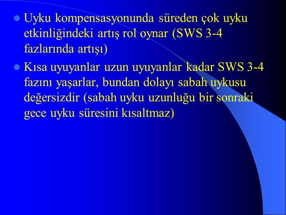 Uyku kompensasyonunda süreden çok uyku etkinliğindeki artış rol oynar (SWS 3-4 fazlarında artışı)