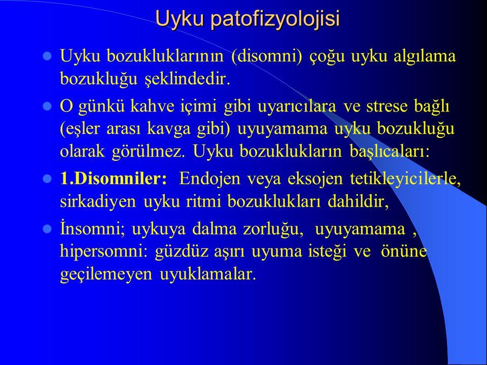 Uyku patofizyolojisi Uyku bozukluklarının (disomni) çoğu uyku algılama bozukluğu şeklindedir.
