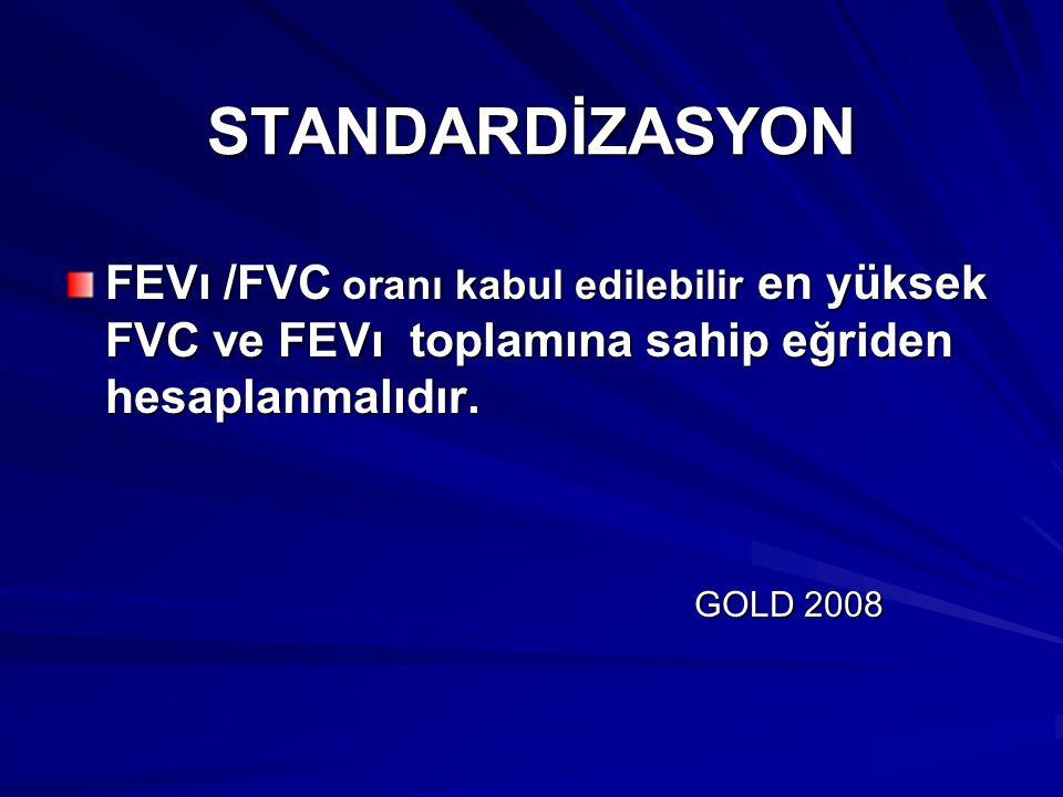 STANDARDİZASYON FEVı /FVC oranı kabul edilebilir en yüksek FVC ve FEVı toplamına sahip eğriden hesaplanmalıdır.