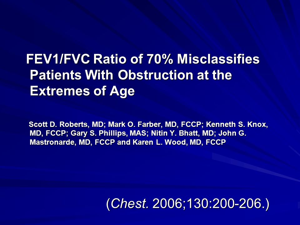 FEV1/FVC Ratio of 70% Misclassifies Patients With Obstruction at the Extremes of Age