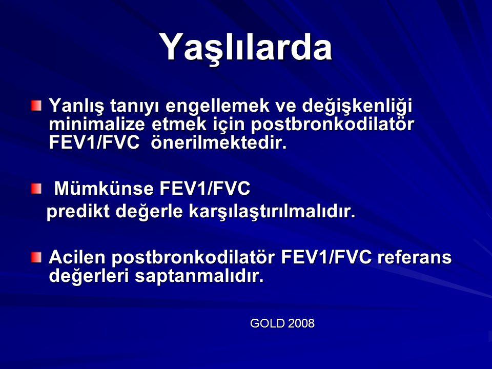 Yaşlılarda Yanlış tanıyı engellemek ve değişkenliği minimalize etmek için postbronkodilatör FEV1/FVC önerilmektedir.