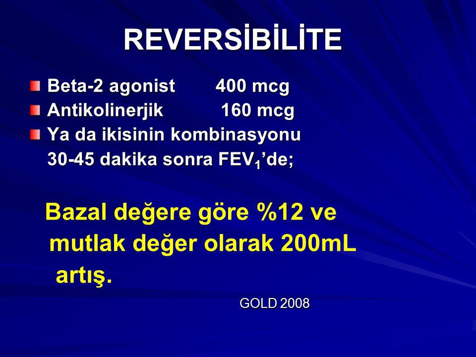 REVERSİBİLİTE mutlak değer olarak 200mL artış. Beta-2 agonist 400 mcg