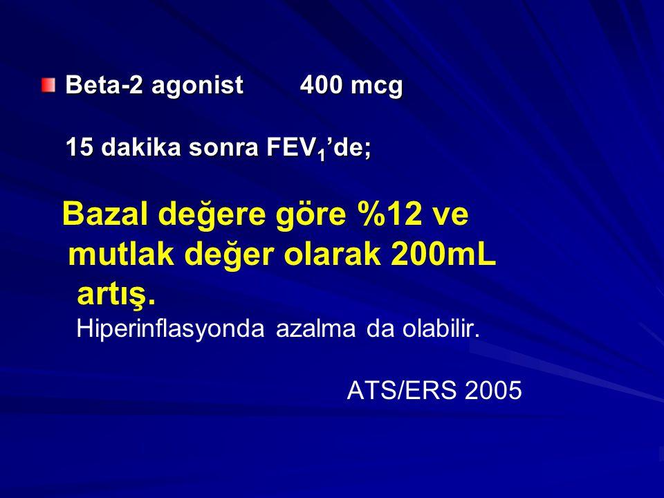 mutlak değer olarak 200mL artış. Beta-2 agonist 400 mcg