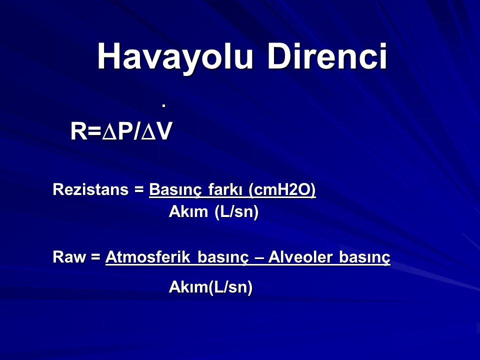 Havayolu Direnci R=P/V . Rezistans = Basınç farkı (cmH2O)