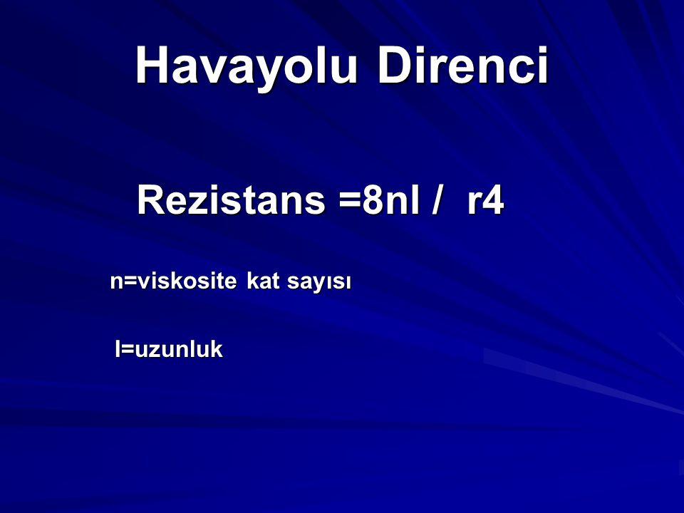 Havayolu Direnci Rezistans =8nl / r4 n=viskosite kat sayısı I=uzunluk