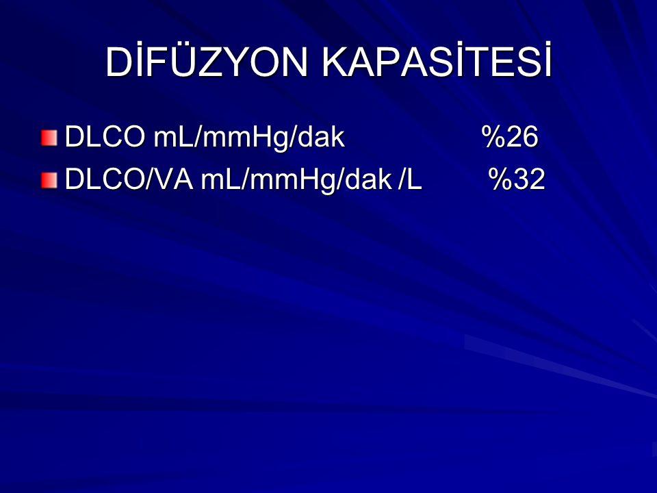 DİFÜZYON KAPASİTESİ DLCO mL/mmHg/dak %26 DLCO/VA mL/mmHg/dak /L %32