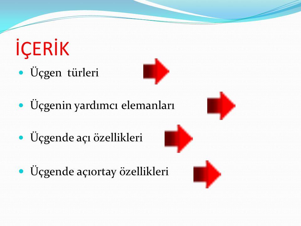 İÇERİK Üçgende açıortay özellikleri Üçgen türleri