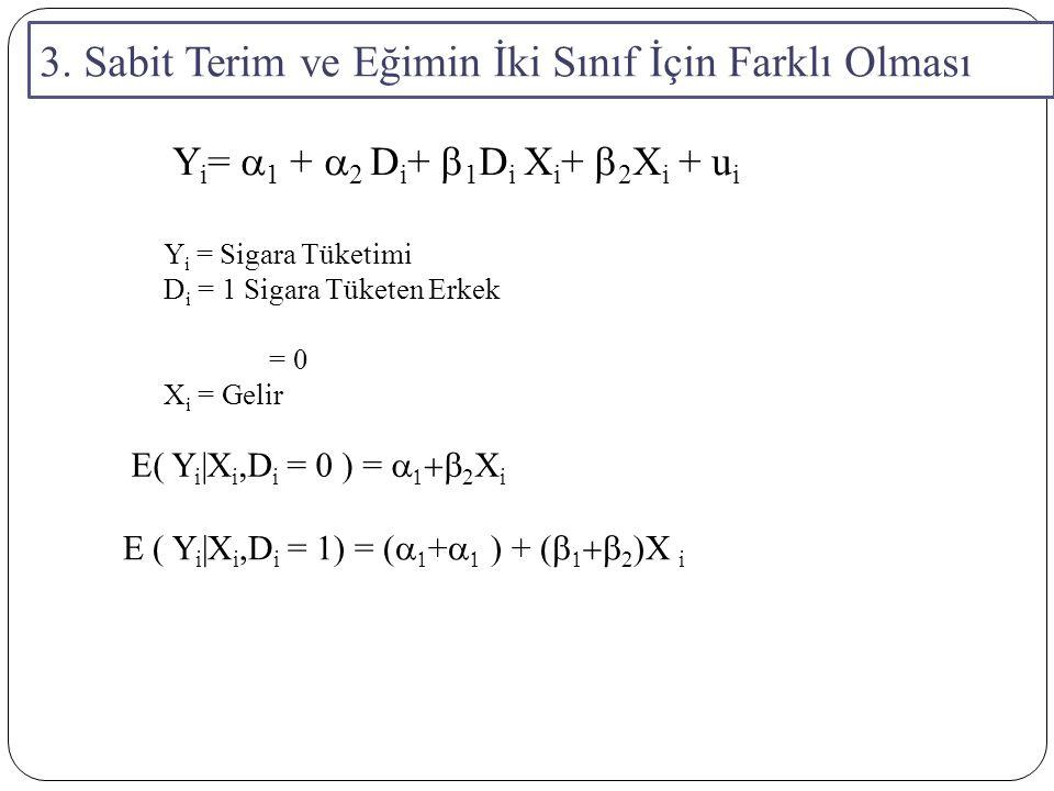 3. Sabit Terim ve Eğimin İki Sınıf İçin Farklı Olması