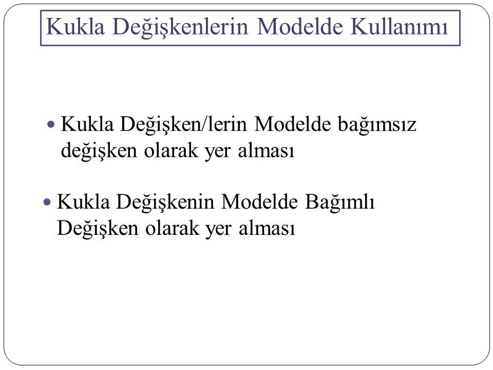 Kukla Değişkenlerin Modelde Kullanımı