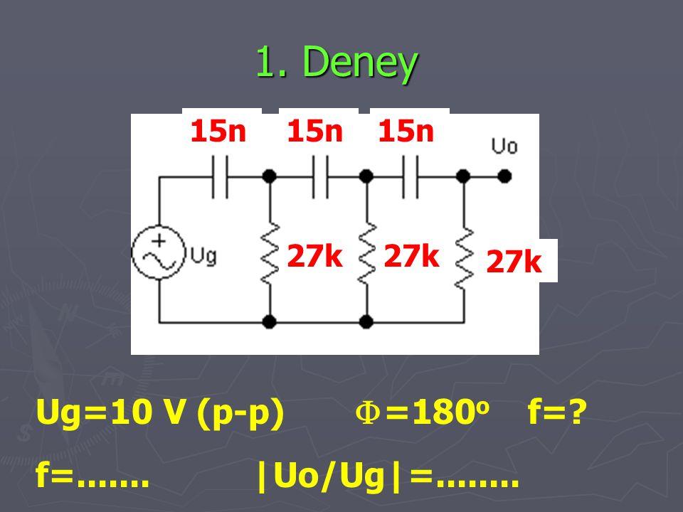 1. Deney Ug=10 V (p-p) F=180o f= f=....... |Uo/Ug|=........ 15n 15n