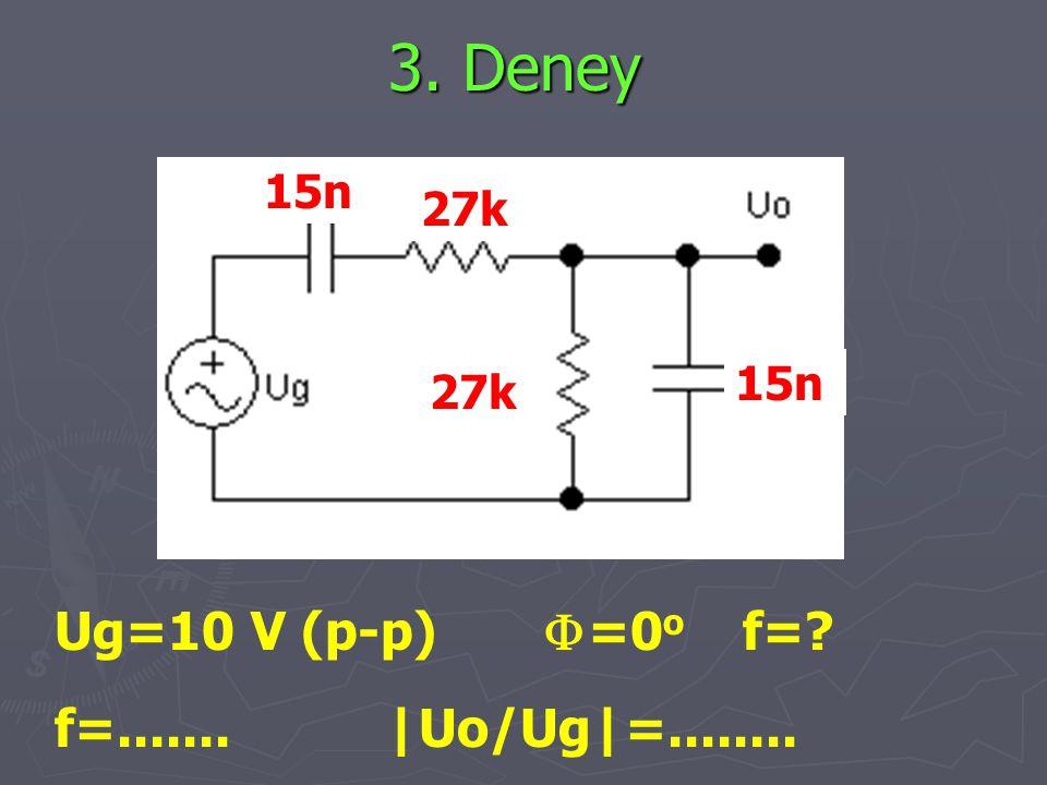 3. Deney Ug=10 V (p-p) F=0o f= f=....... |Uo/Ug|=........ 15n 27k 15n