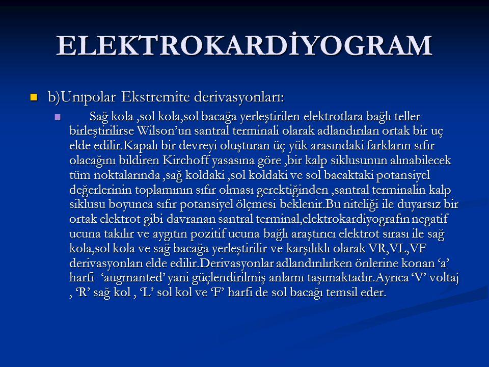 ELEKTROKARDİYOGRAM b)Unıpolar Ekstremite derivasyonları: