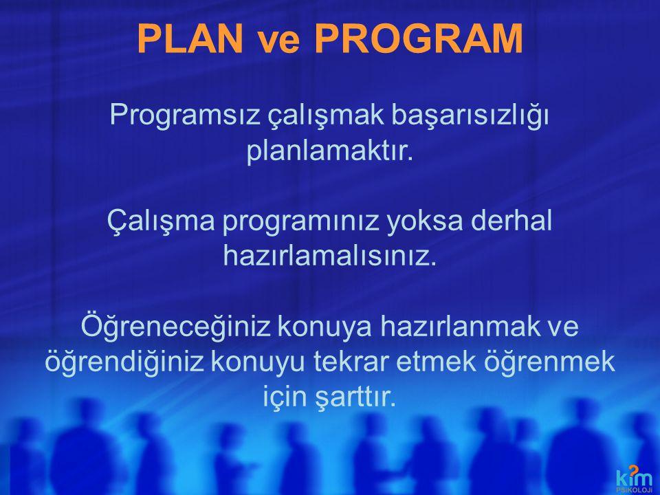 PLAN ve PROGRAM Programsız çalışmak başarısızlığı planlamaktır.