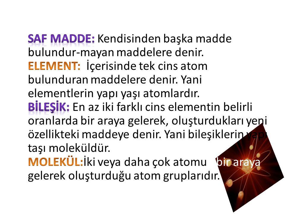 SAF MADDE: Kendisinden başka madde bulundur-mayan maddelere denir
