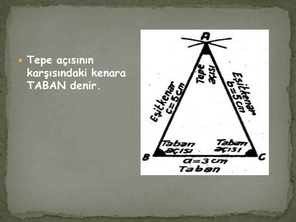 Tepe açısının karşısındaki kenara TABAN denir.
