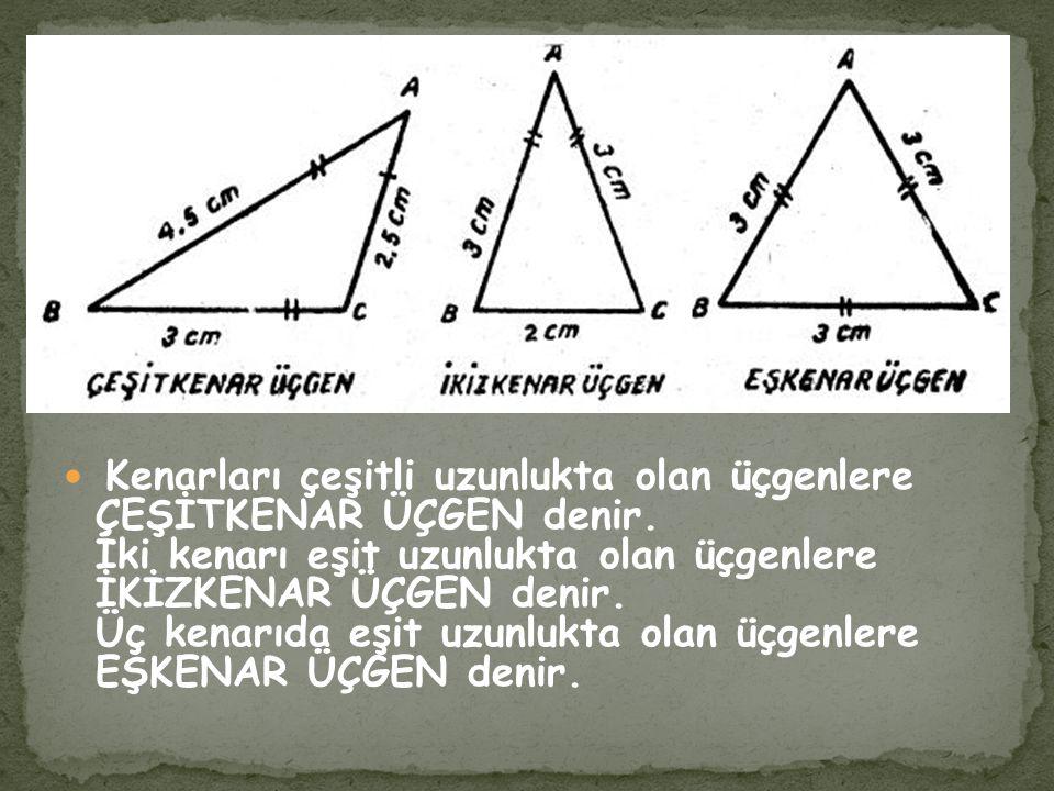 Kenarları çeşitli uzunlukta olan üçgenlere ÇEŞİTKENAR ÜÇGEN denir