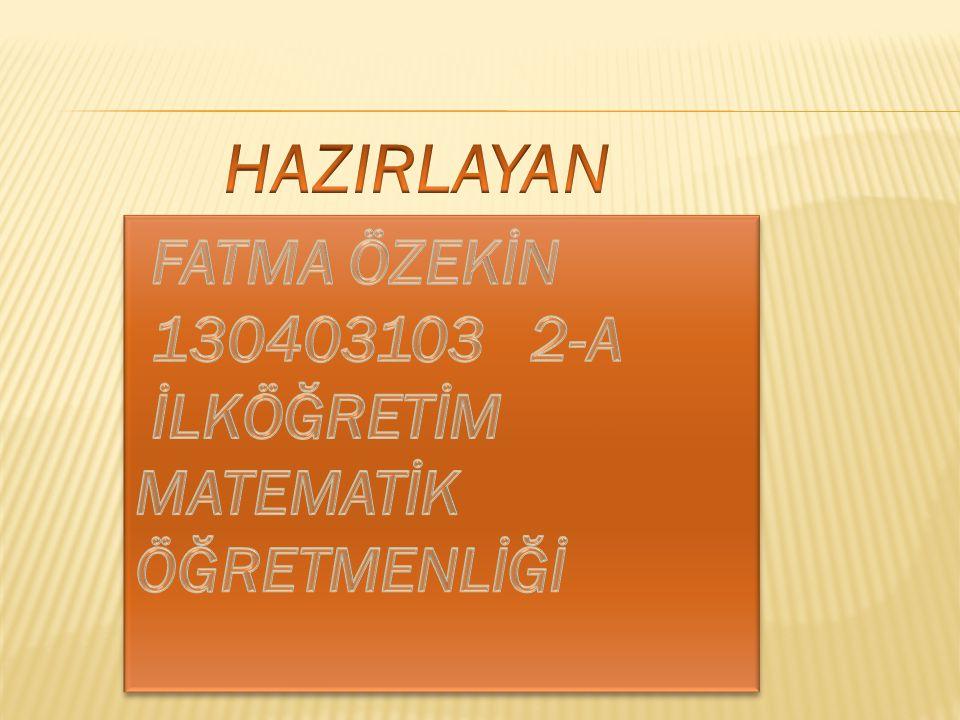 HAZIRLAYAN FATMA ÖZEKİN 130403103 2-A